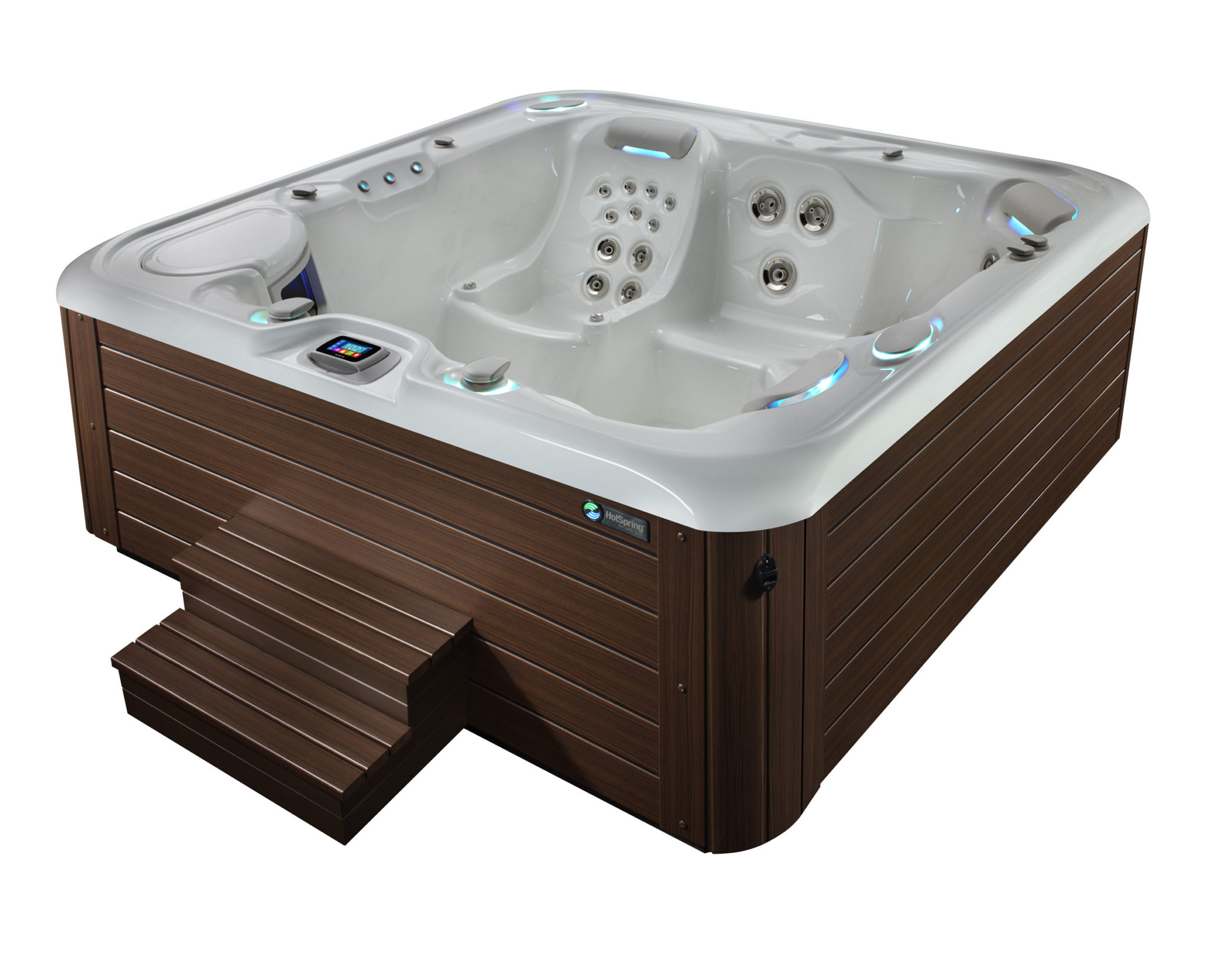 HSS Highlife 2014 Envoy AlpineWhite Mocha High Angle 01 - Hot Spring Hot Tubs
