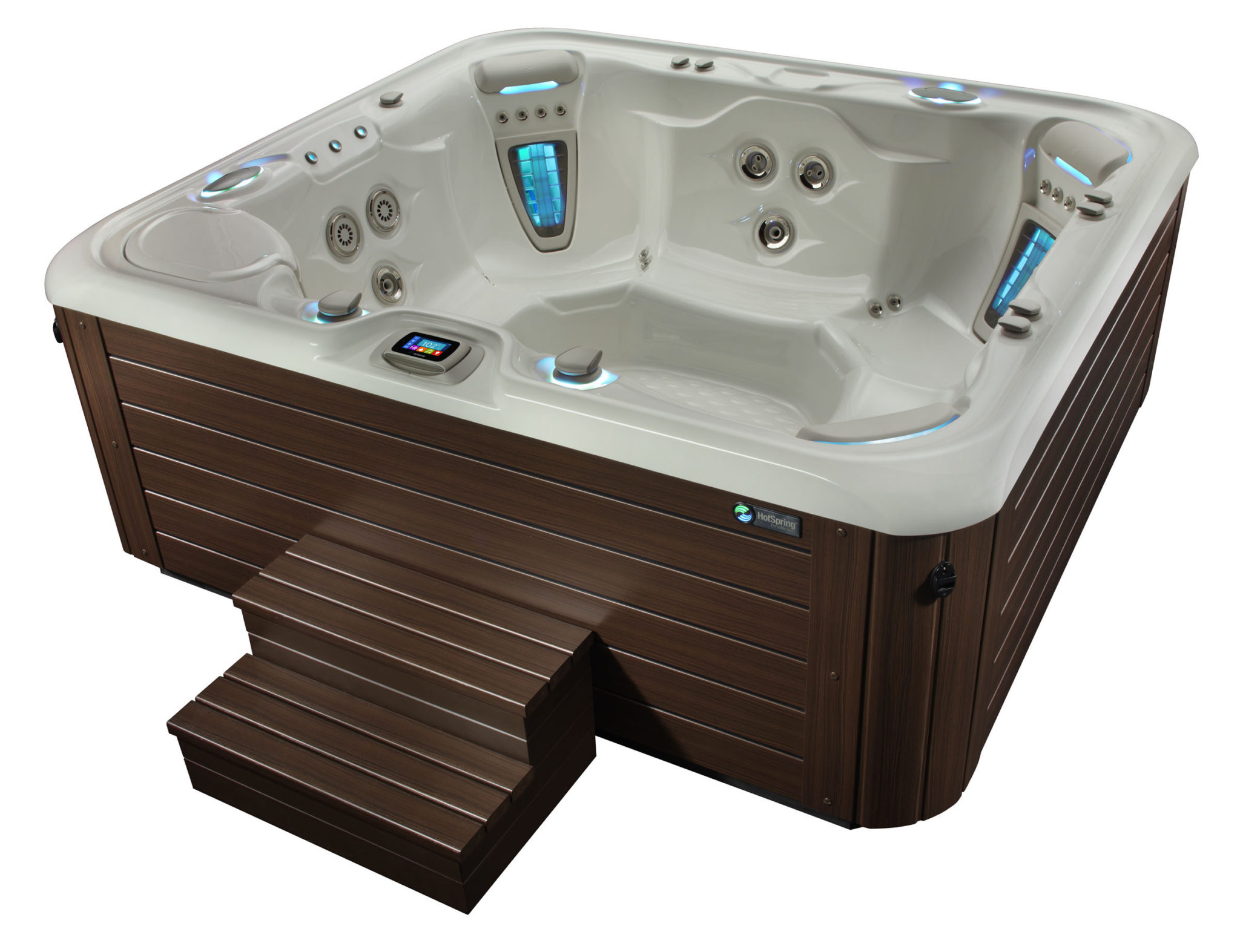 HSS Highlife 2014 Grandee AlpineWhite Mocha HighAngle 02 - Hot Spring Hot Tubs