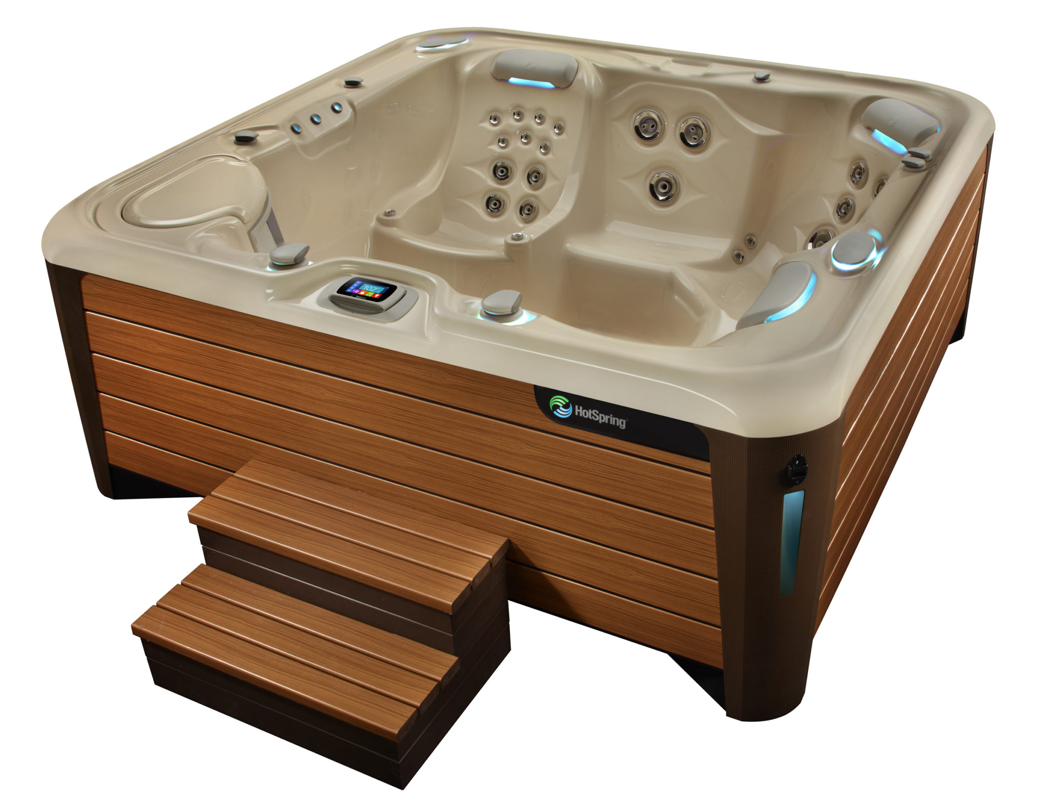 Hot Spring Highlife 2014 Envoy NXT Creme Teak Detail High Angle 01 - Hot Spring Hot Tubs