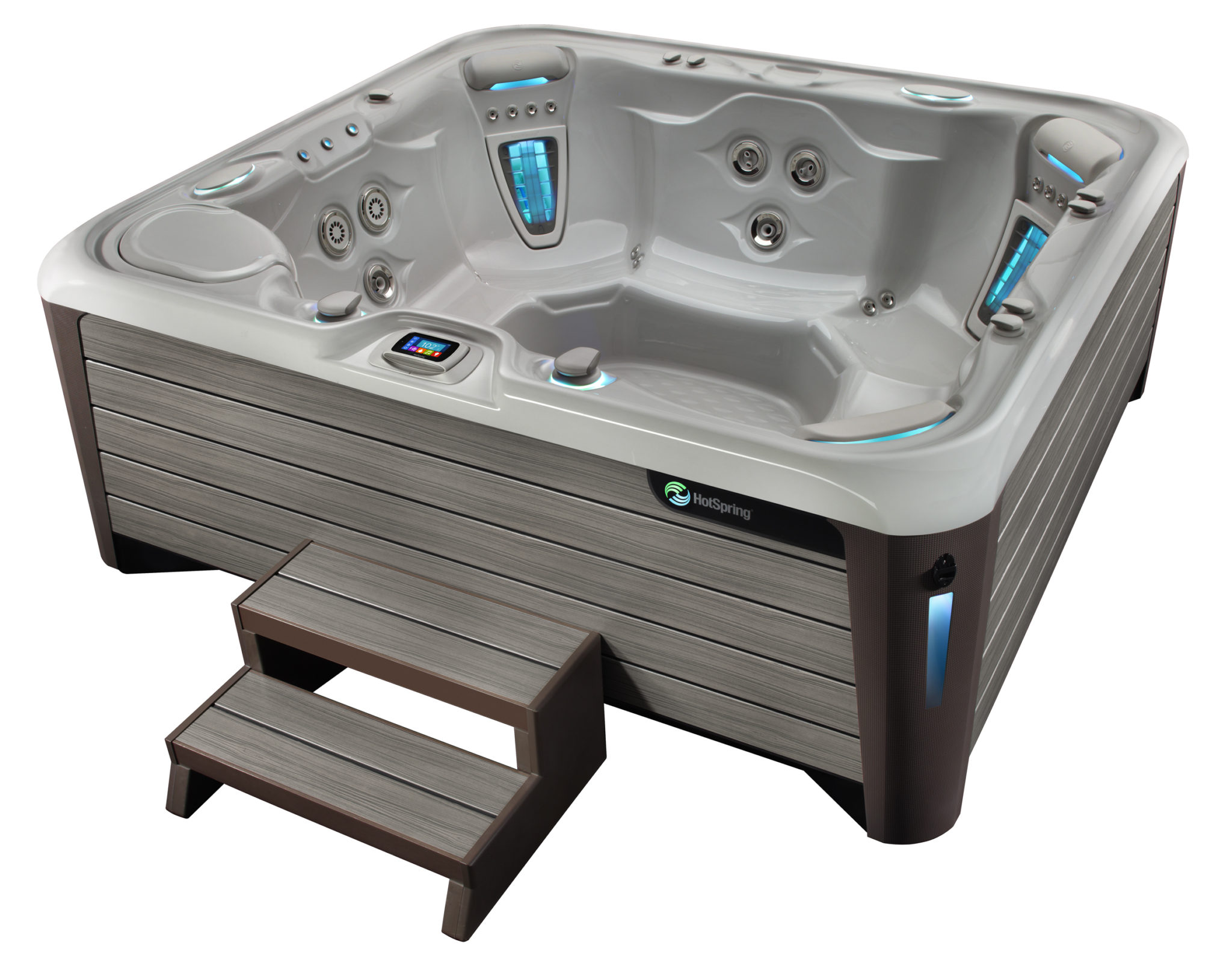 Hot Spring Highlife 2014 Grandee NXT Ice Gray Monteray Gray High Angle 01 - Hot Spring Hot Tubs