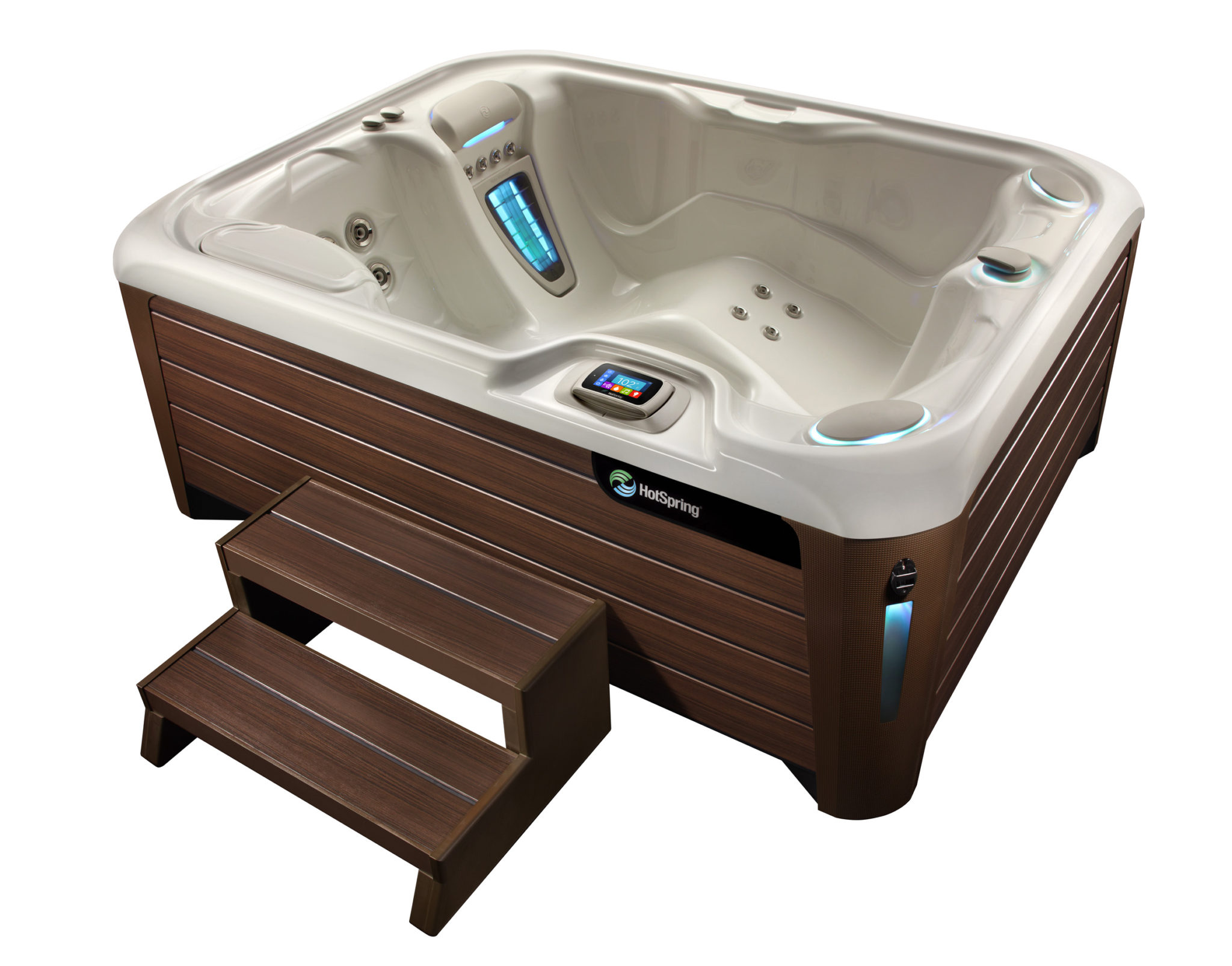 Hot Spring Highlife 2014 Jetsetter NXT AlpineWhite Mocha High Angle 01 - Hot Spring Hot Tubs