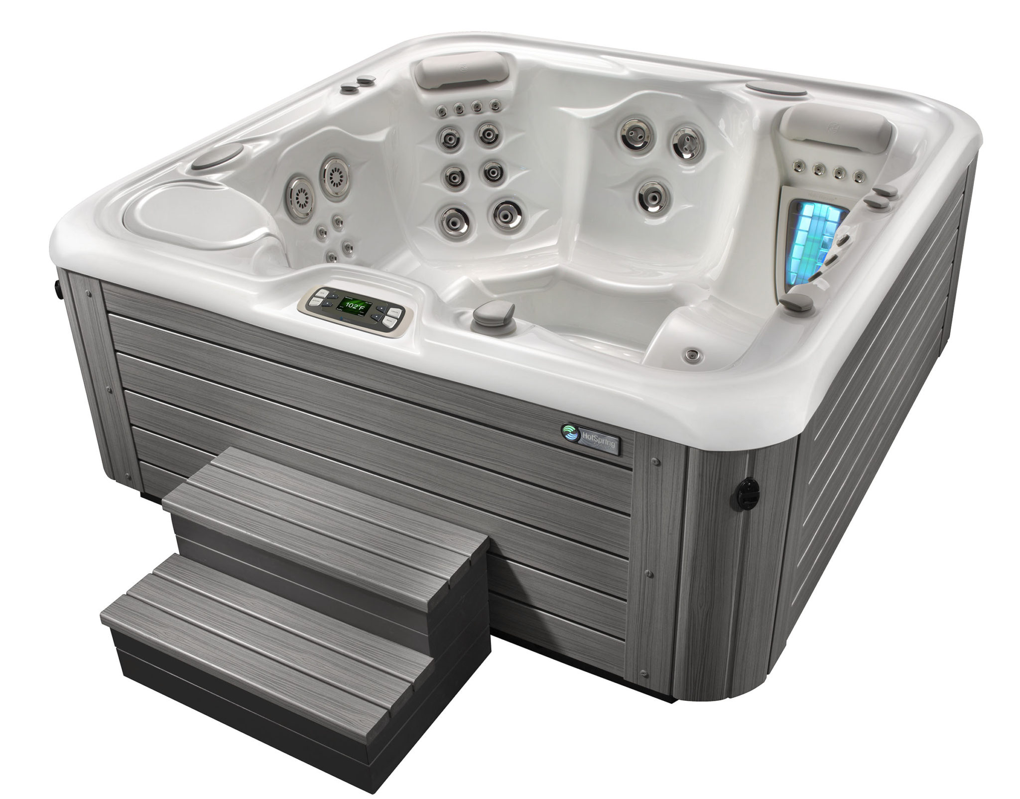 Hot Spring Highlife 2015 Aria AlpineWhite Monteray Gray HighAngle - Hot Spring Hot Tubs