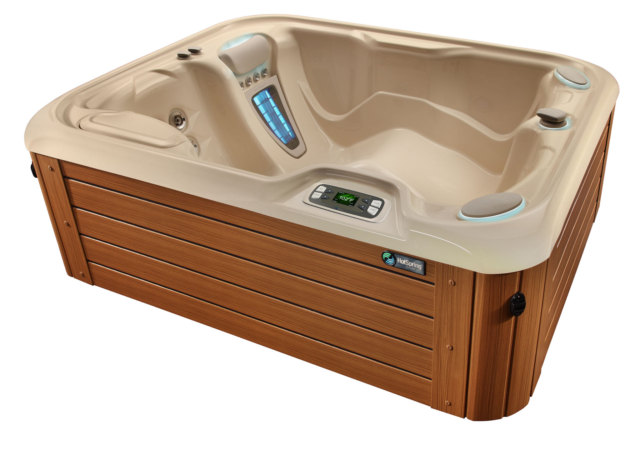 Hot Spring Highlife 2015 Jetsetter Creme Teak HighAngle - Hot Spring Hot Tubs