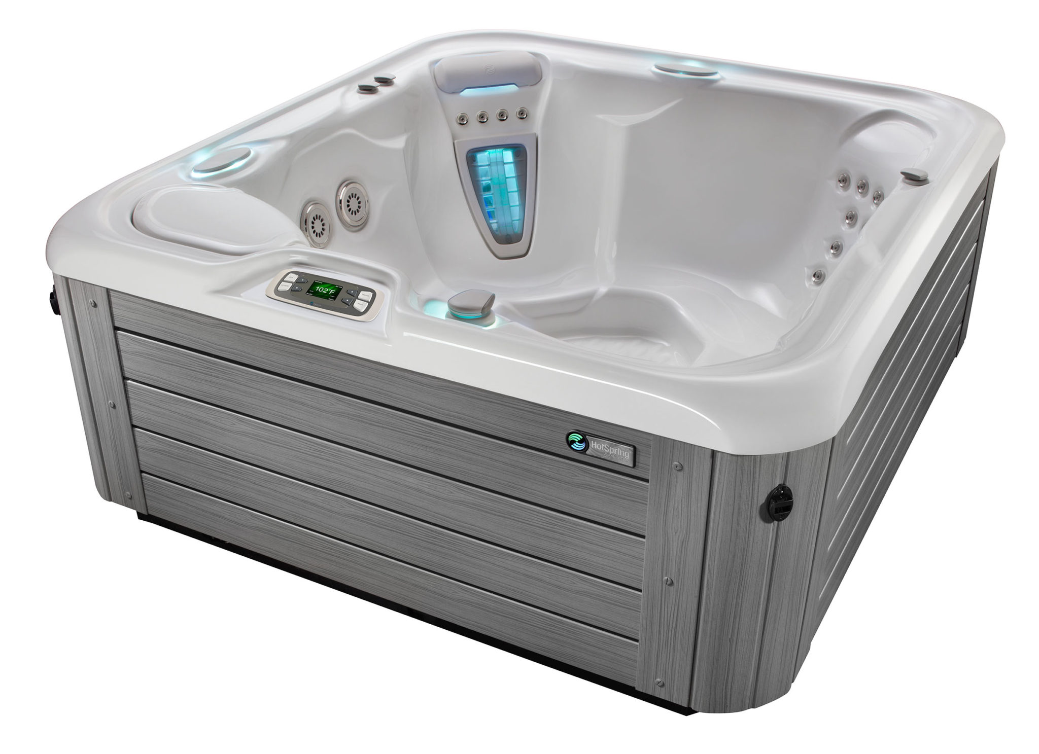 Hot Spring Highlife 2015 Prodigy Ice Gray Monteray Gray HighAngle - Hot Spring Hot Tubs