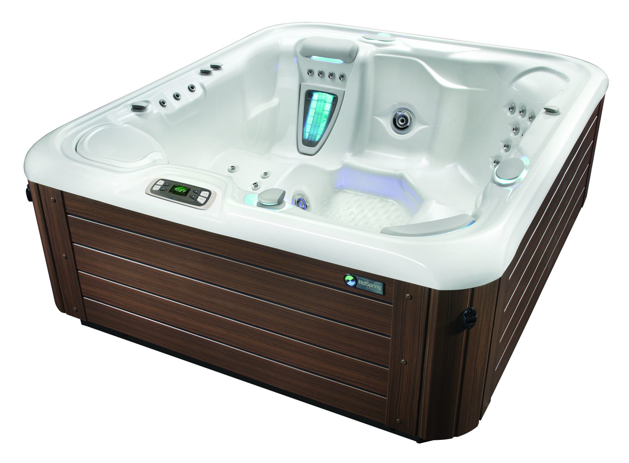 Hot Spring Highlife 2015 Sovereign AlpineWhite Mocha HighAngle - Hot Spring Hot Tubs