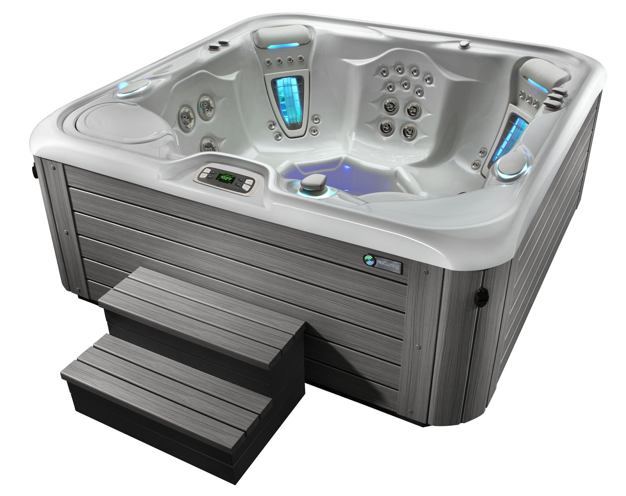 Hot Spring Highlife 2015 Vanguard IceGray MontereyGray HighAngle - Hot Spring Hot Tubs